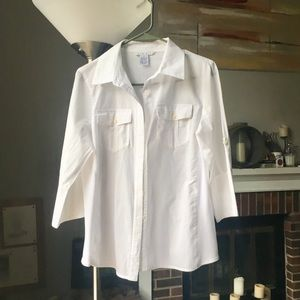 CABi simply white business button up shirt